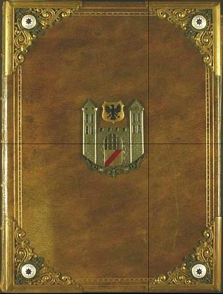 Vazba německy psané kroniky Nové Bystřice se znakem města