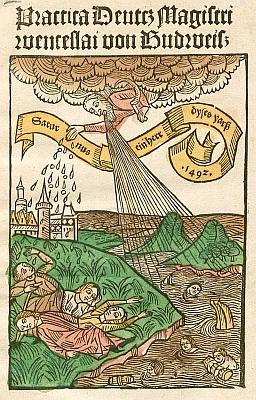 Kolorovaný titulní list jedné z jeho pranostik (1492)