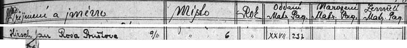 """Tento řádek v indexu ledenické matriky svědčí o tom, že """"Rosa Buštova"""" si """"Jana Hirsche"""" vzala za muže 9. listopadu 1920 v kostele sv. Vavřince v Ledenicích, ve kterém byla kdysi pokřtěna"""