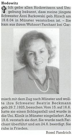 Do krajanského časopisu napsala nekrolog své mladší sestry,     Anni Barkowski, roz. Hirschové