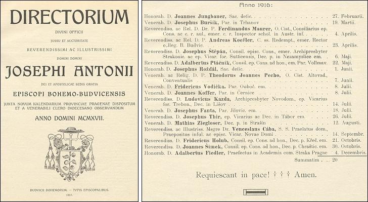 Titulní list (1917) diecézního Directoria a seznam v roce 1916 zemřelých kněží - vedle Josefa Fanty v něm nacházíme i P. Václava Cábu