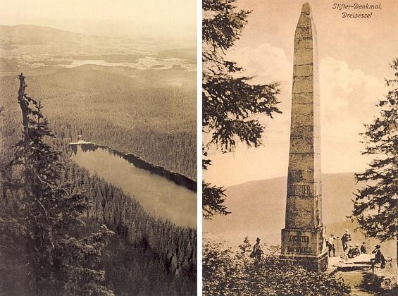 Plešné jezero od Jezerní stěny a Stifterův obelisk na starých pohlednicích