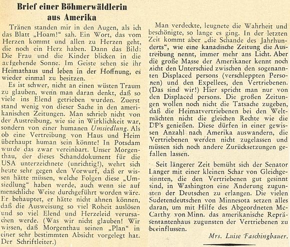 """Text jejího dopisu z Ameriky, jak vyšel v březnovém čísle měsíčníku """"Hoam!"""" roku 1950"""