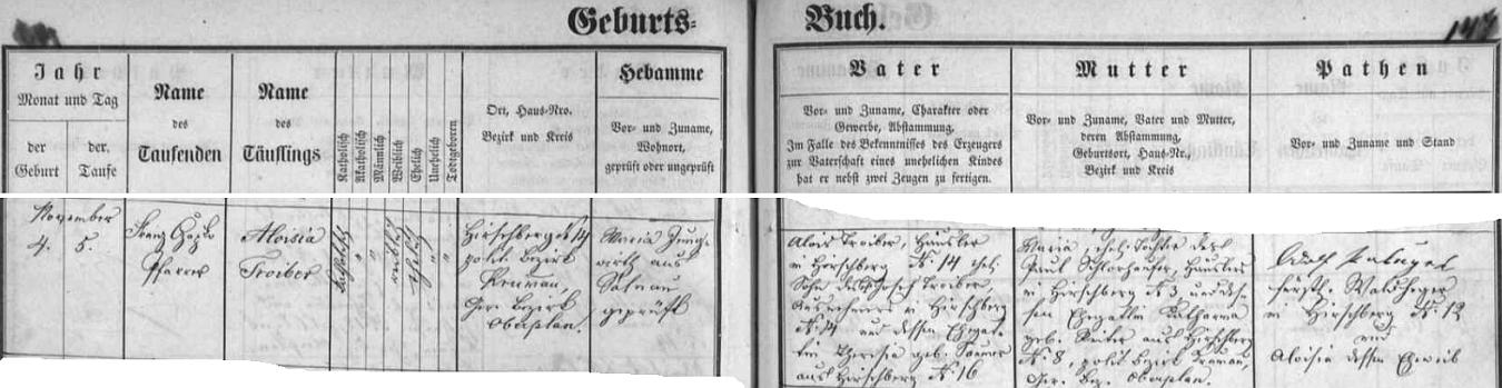 Záznam o narození a křtu Aloisie Troiberové v matrice farní obce Želnava
