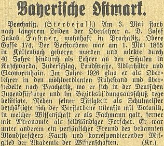 Zpráva o jeho úmrtí v českobudějovickém německém listě (Prachatice byly už tehdy součástí  tzv. Bavorské východní marky)