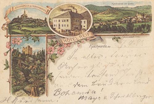Dvě staré pohlednice z Kunžvartu, kde měl v roce 1903 svatbu
