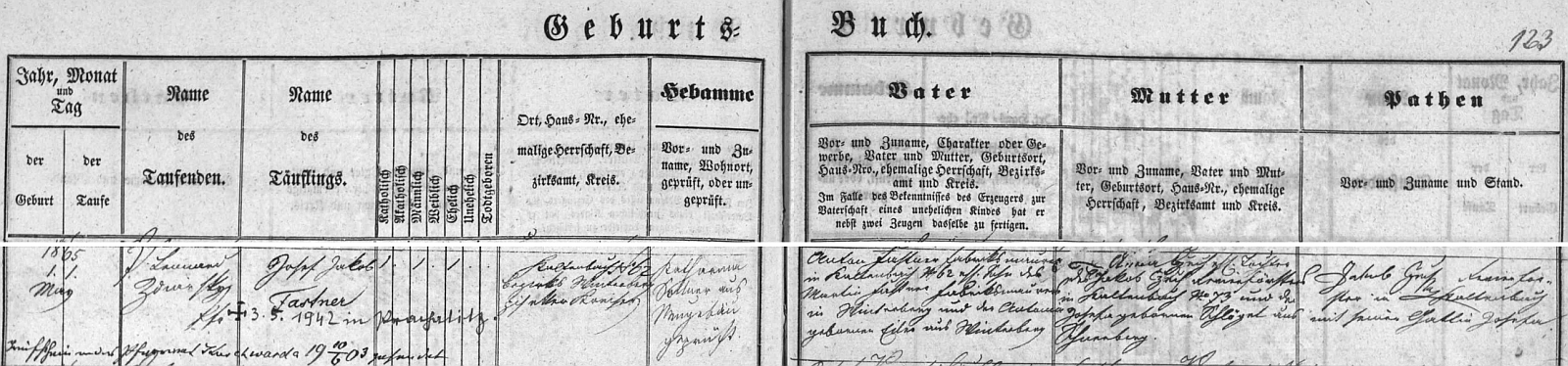 Záznam matriky farní obce Nový Svět (Neugebäu) o jeho narození v Kaltenbachu čp. 62
