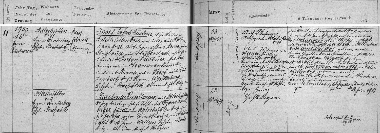 Záznam kunžvartské oddací matriky o jeho zdejší svatbě