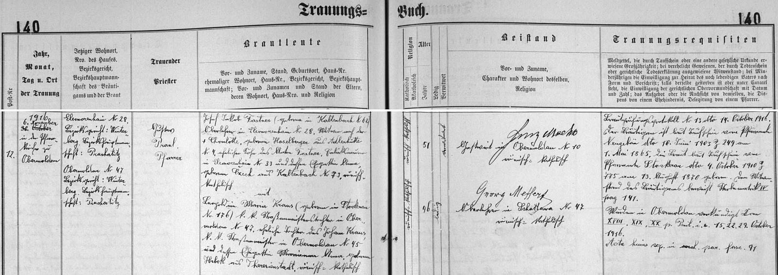 Záznam hornovltavické oddací matriky o jeho druhé svatbě s Leopoldinou Marií Krausovou
