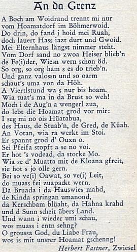 """První verze jeho nářeční básně Na hranici, jak vyšla v příloze pro mladé krajanského měsíčníku """"Hoam!"""""""