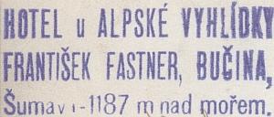 """Razítko hotelu """"U Alpské vyhlídky"""" na dopisnici z roku 1938"""
