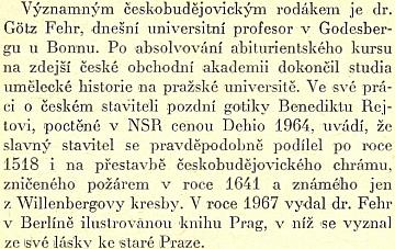 O něm v knize vzpomínek na staré Budějovice od Františka Rady