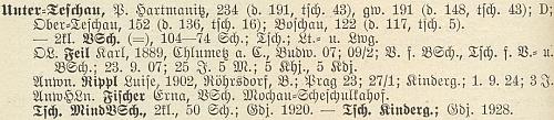 Jeho data v soupisu německéhu učitelstva v Čechách z roku 1928, kdy byl ředitelem školy v Dolejším Těšově