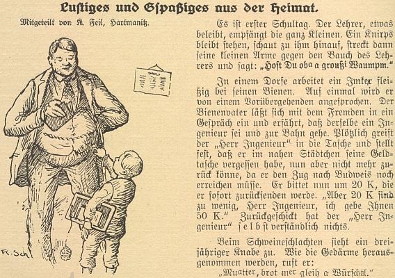 Něco pro špás tu provází kresba R. Scheibenzubera z bavorského Landshutu - že by to na ní byl sám pan řídící Feil?