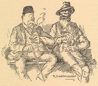 Jiná Scheibenzuberova kresba z téhož kalendáře, v němž vyšly Feilovy šumavské anekdoty
