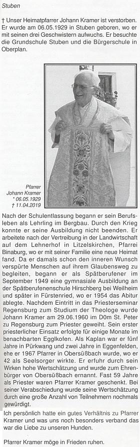 Její příspěvek krajanském měsíčníku se týká úmrtí Johanna Kramera (1929-2019), rodáka z Hůrky, kněze vysvěceného v Řezně roku 1960