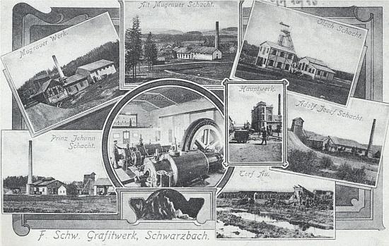 Secesni pohlednice knížecích schwarzenberských tuhových dolů v Černé