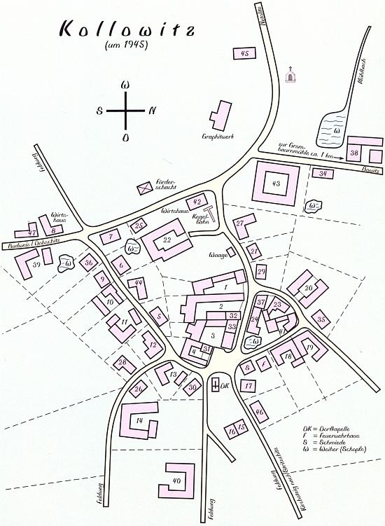 Na plánku vsi Chvalovice je dům čp. 45, kde přišla na svět, zcela nahoře poblíž zdejších dolů na grafit ve směru na Netolice