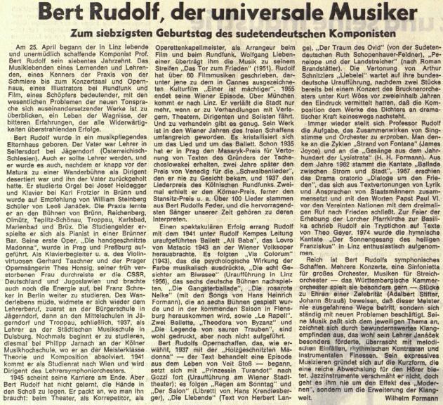 """Článek Wilhelma Formanna o Bertu Rudolfovi (1905-1992), rodákovi ze Zátoru (Seifersdorf) u Krnova (Jägersdorf), k jehož opeře """"Der Traum des Ovid"""" (tj. """"Ovidiův sen""""), která měla premiéru v Linci 25. července roku 1967, napsala libreto"""