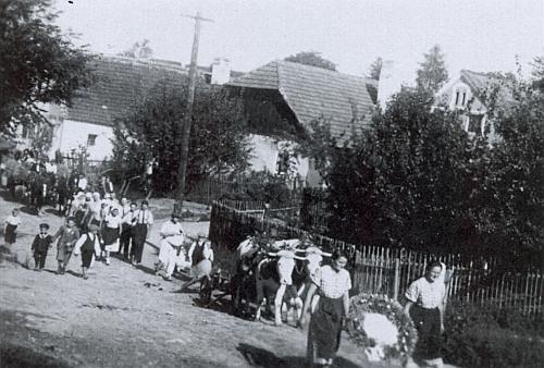 Dožínkový průvod v jejích rodných Chvalovicích někdy v půli třicátých let 20. století