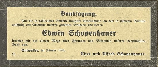 Zpráva o otcově úmrtí a parte v německém budějovickém listu