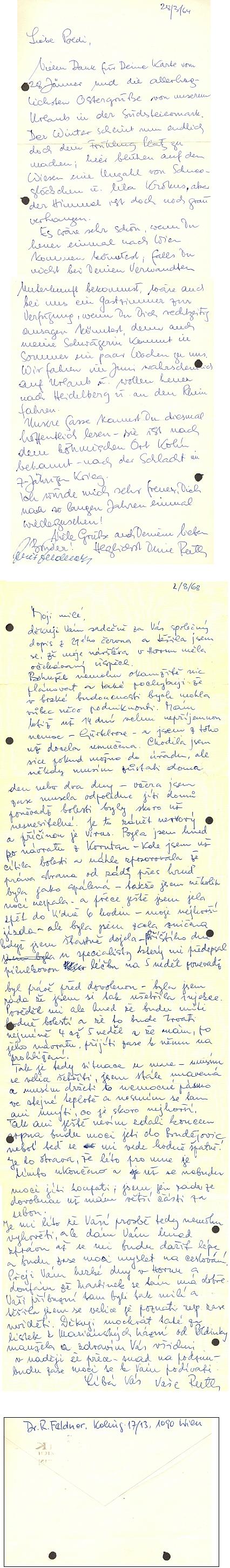 Dva její dopisy ze šedesátých let minulého století do Českých Budějovic i se zpáteční adresou na Kolínské ulici ve Vídni
