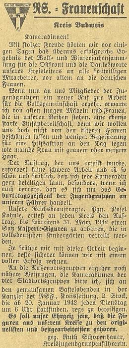 Její výzva na stránkách budějovického německého listu svědčí i o angažovanosti vženském nacistickém hnutí