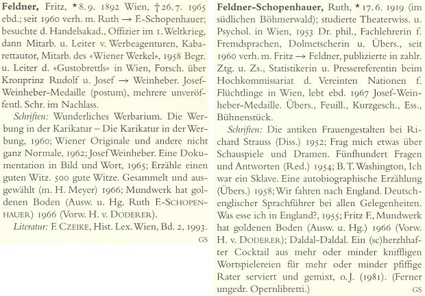 Heslo Fritze Feldnera a její v německém literárním lexikonu