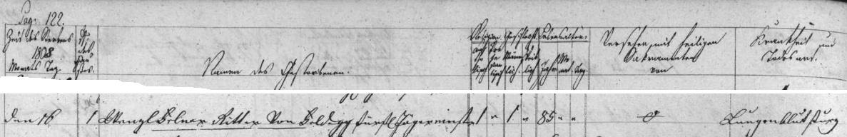 Záznam českokrumlovské úmrtní matriky o jeho skonu na zdejším zámku (čp. 1) v lednu 1809 - příčinou smrti pětaosmdesátiletého starce bylo chrlení krve