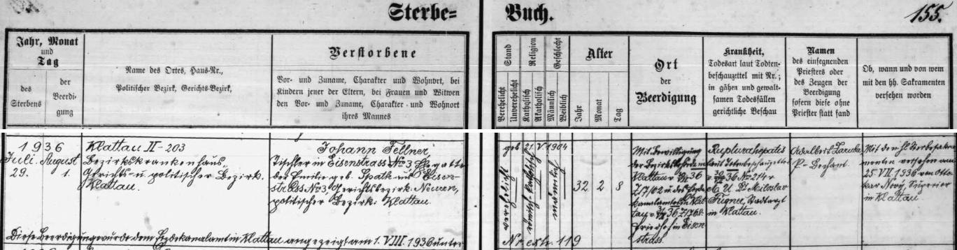 """Záznam úmrtní matriky farní obce Hojsova Stráž o otcově úmrtí v klatovské nemocnici na poranění jater, způsobené pracovním úrazem v jeho truhlárně v Hojsově Stráži (domu, který si tam postavil, se říkalo """"Fellner Haus"""")"""