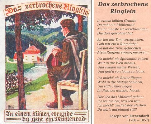 Eichendorffova proslulá báseň o zlomeném prstýnku jako motiv pohlednice sdružení Bund der Deutschen in Böhmen