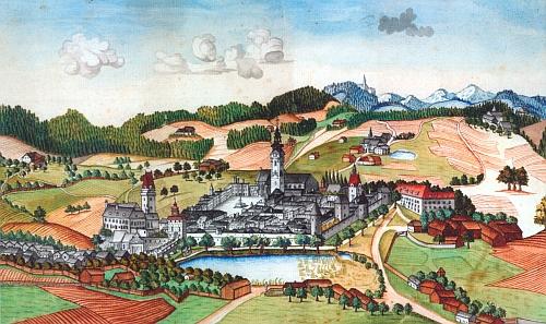 Město Freistadt na akvarelu z roku 1798 při pohledu od severu k jihu