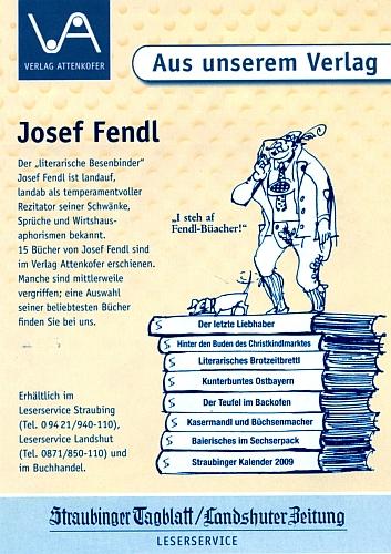 Inzerát na 15 jeho knih v nakladatelství Attenkofer