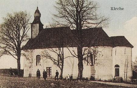 Kostel sv. Václava v Rozvadově na staré pohlednici