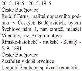 """Záznam o smrti otcově """"v době revoluce"""" z knihy zemřelých apohřbených děkanského úřadu České Budějovice, svazek č.24"""