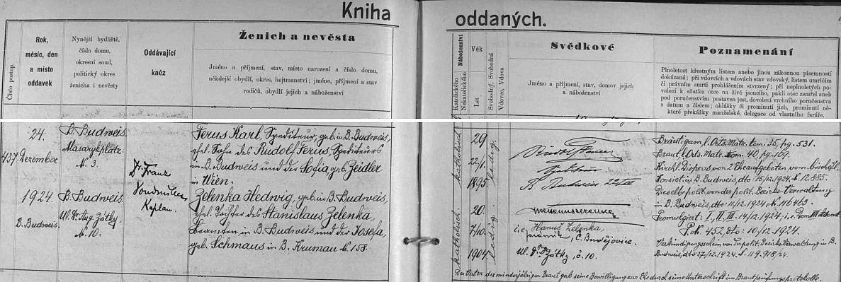 Záznam o jeho svatbě na Štědrý den roku 1924 s Hedwig Zelenkovou, dcerou českobudějovického úředníka Stanislava Zelenky a jeho ženy Josefy, roz. Schmausové, zČeskéhoKrumlova