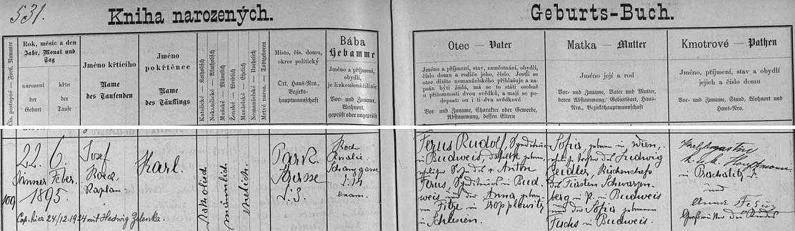 Podle českobudějovické Knihy narozených byl sice pokřtěn 6. února 1895, narodil se však už 22. ledna toho roku zdejšímu dopravci Rudolfu Ferusovi (jeho otec Anton Ferus byl zakladatelem známé firmy, matka Anna, roz. Fitzlová, pocházela z Opavice /Tropplowitz/ ve Slezsku, místě dnes rozděleném mezi Česko a Polsko) a jeho ženě Sofii, roz. Zeidlerové, dceři schwarzenberského knížecího šéfkuchaře Ludwiga Zeidlera a jeho manželky Sofie, roz. Fuchsové, obou z Budějovic - dcera se jim však narodila ve Vídni