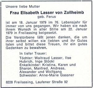 Zpráva o úmrtí jeho sestry Elisabeth ve Freilassingu roku 1979