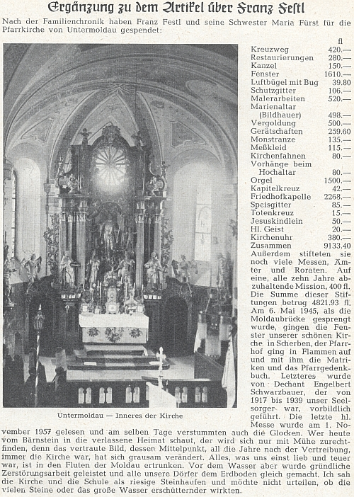 Doplněk článku o něm v krajanském časopisu doprovází snímek oltáře kostela v Dolní Vltavici, v němž se pak podle textu sloužila poslední mše svatá 1. listopadu roku 1957