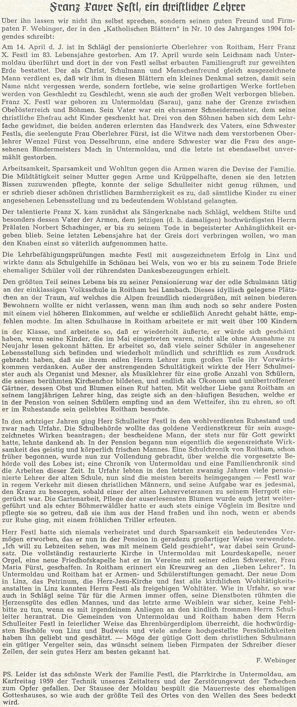 """Jeho životopis, převzatý z listu """"Katholischen Blätter"""", ročník 1904"""