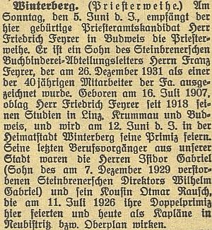 Zpráva o jeho primici v českobudějovickém německém listu