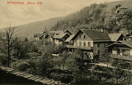 Rodné vimperské předměstí Mariahilf na pohlednici Josefa Seidela z roku 1909