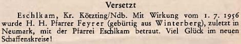 Oznámení o jeho jmenování farářem v Eschlkamu