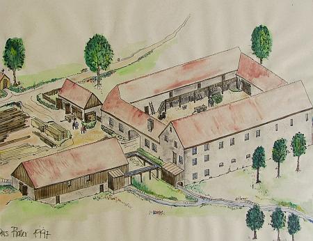 Zaunmühle na kresbě, která zachycuje mlýn (žádný jeho snímek kromě leteckého není známý), srovnaný po válce se zemí