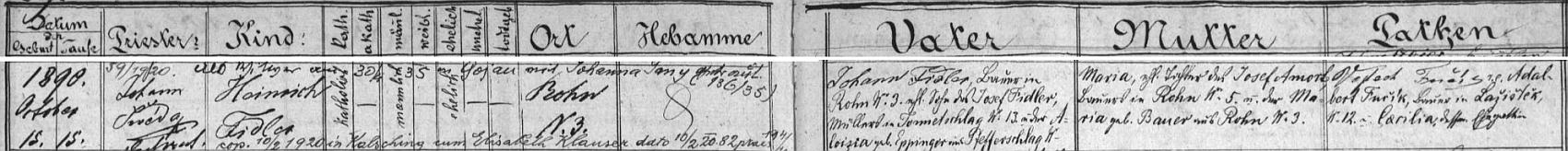 """Záznam prachatické křestní matriky pro osadu Leptač (Rohn) o narození Heinricha Fidlera """"staršího"""""""