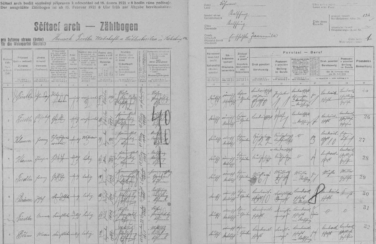 """Arch sčítání lidu z roku 1921 pro """"samotu Zaunmühle"""" (U Váchů), kde se Fidler ještě píše Fiedler"""