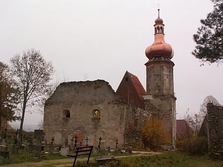 Kostel sv Mikuláše a hřbitov v Šitboři na snímku z roku 2018 - postupně povstávají z ruin