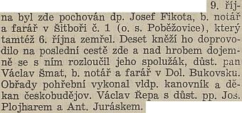 Ze zprávy farního věstníku o jeho pohřbu se dovídáme i o účasti Josefa Plojhara