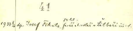Záznam v hosínské hřbitovní knize