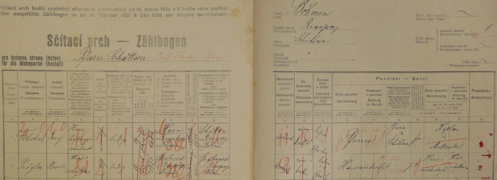 Arch sčítání lidu z roku 1921 pro faru v Šitboři s ním a patrně jeho hospodyní